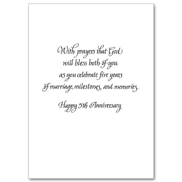 Blessings On Your 5th Wedding Anniversary 5th Wedding Anniversary Card