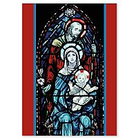 Stained Glass Holy Family Red Border