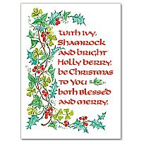 Irish christmas cards with shamrock and holly berry m4hsunfo