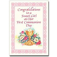 Congratulations To A Sweet Girl First Communion Card