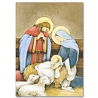 Holy Family in Stable with Lambs