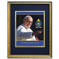 Pope Francis Portrait in Gold Frame