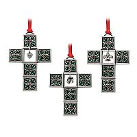 Fleur de Lis Cross Ornament Set