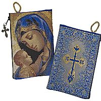 Madonna and Child Cross Tapestry Pouch