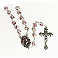 Italian Pink Glass Rosary with Rose Detail