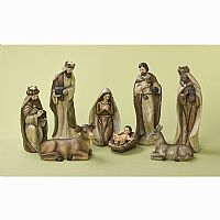 Smooth Wood Nativity 12""