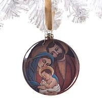 Holy Family Glass Disk Ornament