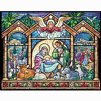 Stained Glass Style Nativity Advent Calendar