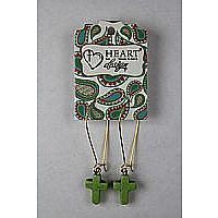 Stone Cross Green Earrings