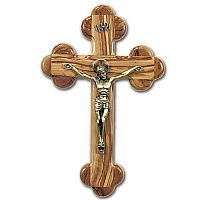 Pewter and Olive Wood Crucifix