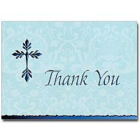 Tree of Life Cross Deluxe Thank You Notes (Blue)