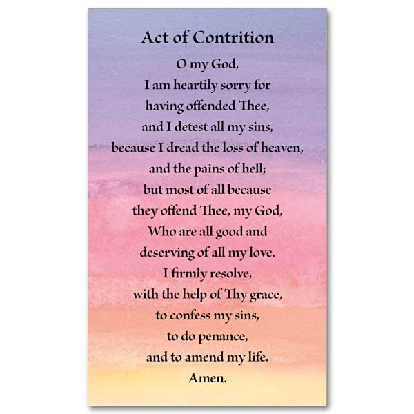 image about Acts Prayer Printable named Act of Contrition: Prayer Card