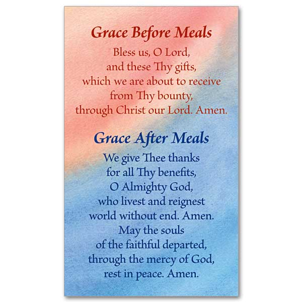 Grace Before And After Meals: Prayer Card
