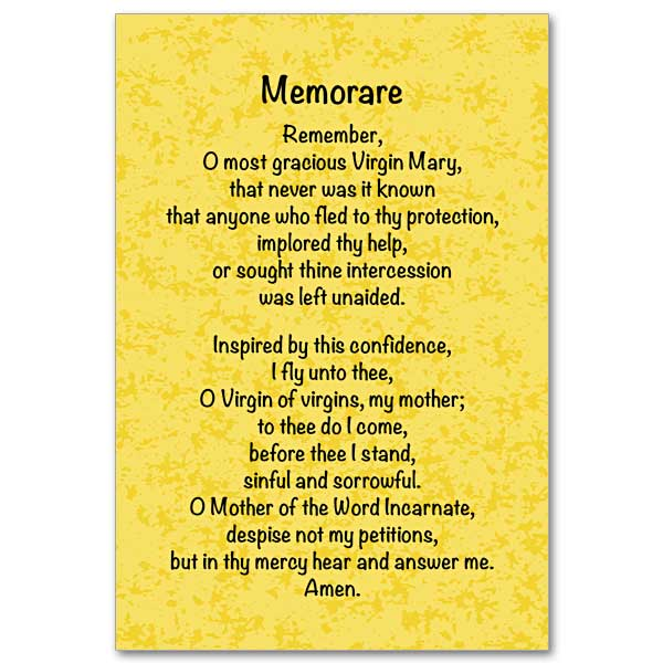 Influential image pertaining to memorare prayer printable
