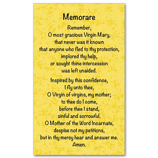 picture relating to Printable Catholic Prayer Cards titled Memorare: Prayer Card