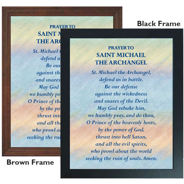 prayer to st  michael archangel  11 x 14 framed print