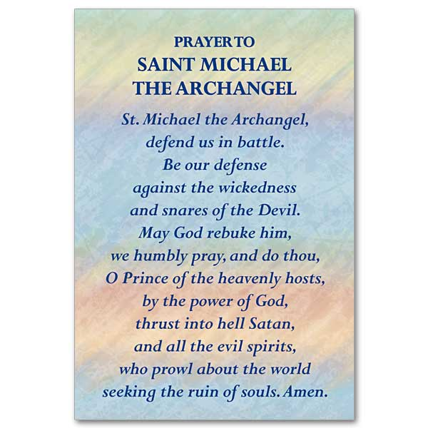 image relating to St. Michael the Archangel Prayer Printable identify Prayer in direction of St. Michael Archangel: Mini Print