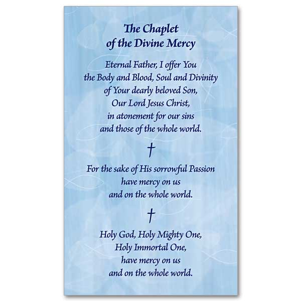 the chaplet of the divine mercy  prayer card