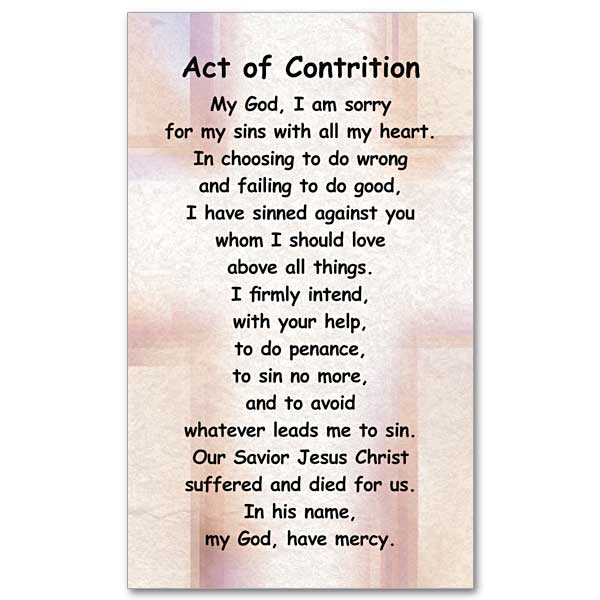 graphic about Act of Contrition Prayer Printable known as Act of Contrition: Prayer Card