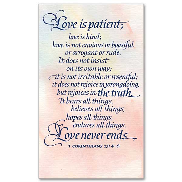 love is patient love is kind love does not envy
