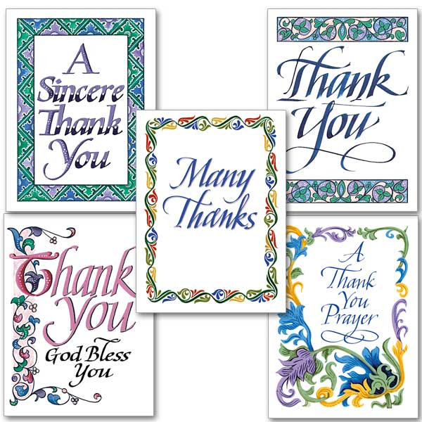 thank you calligraphy collection assorted thank you cards