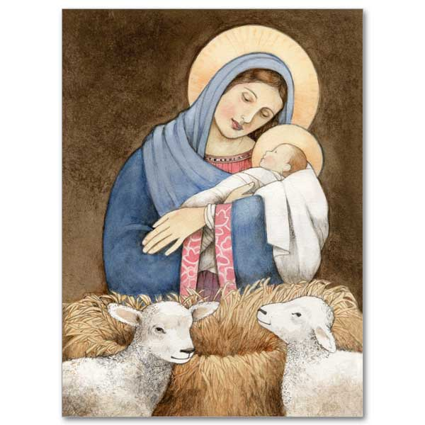 mary holding jesus at manger christmas card