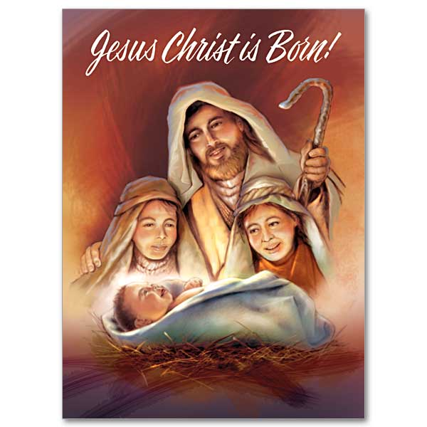 Shepherds worshiping baby Jesus: Christmas Card