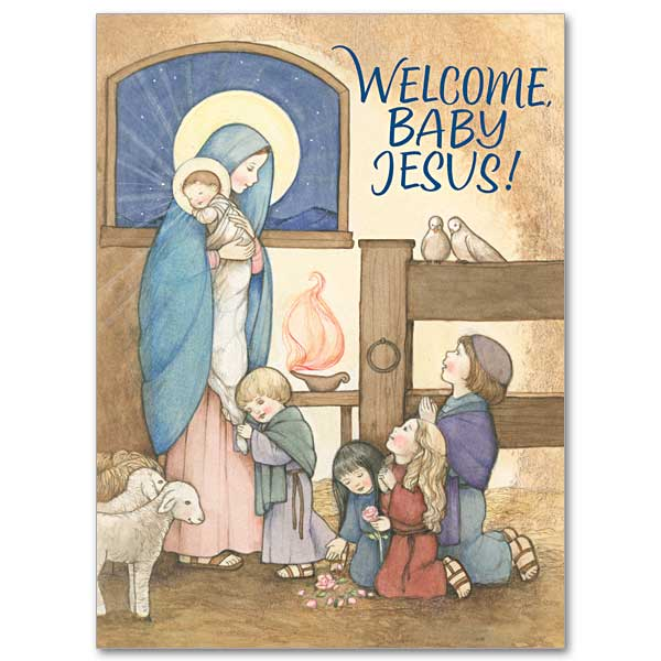 Religious Christmas Cards For Children.Mary With Jesus And Children