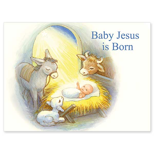 Baby Jesus Is Born Christmas Card For Children