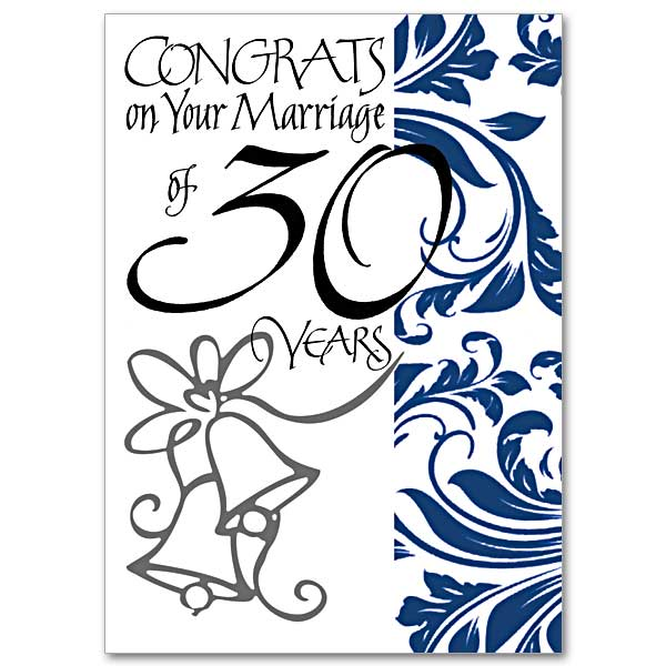 congrats on your marriage of 30 years 30th wedding anniversary card