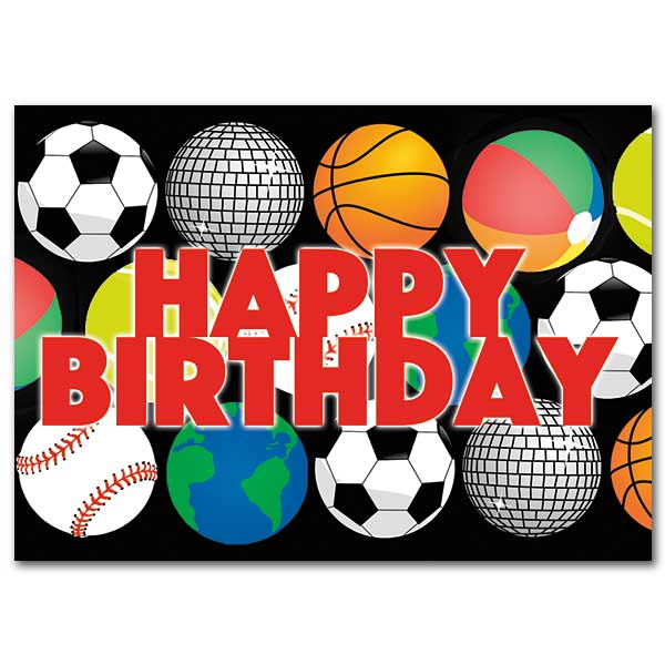 Happy Birthday Balls Birthday Card For Boy