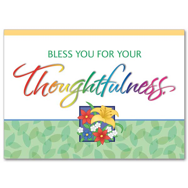 Thank You For Your Generous Gift Quotes: Bless You For Your Thoughtfulness: Thank You Card