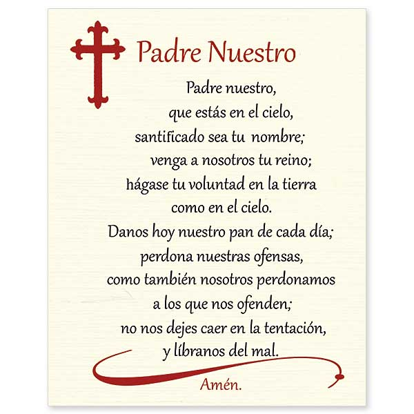 Padre Nuestro Our Father In Spanish Print