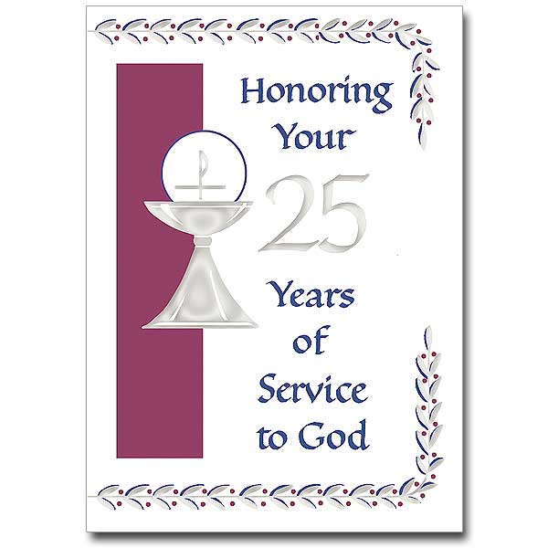 Honoring your 25 years of service to god 25th ordination 25th ordination anniversary card stopboris Choice Image