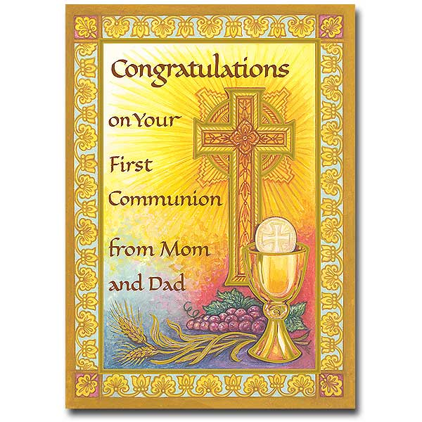 congratulations     from mom and dad  first communion card