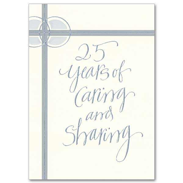 25 years of caring and sharing wedding anniversary card