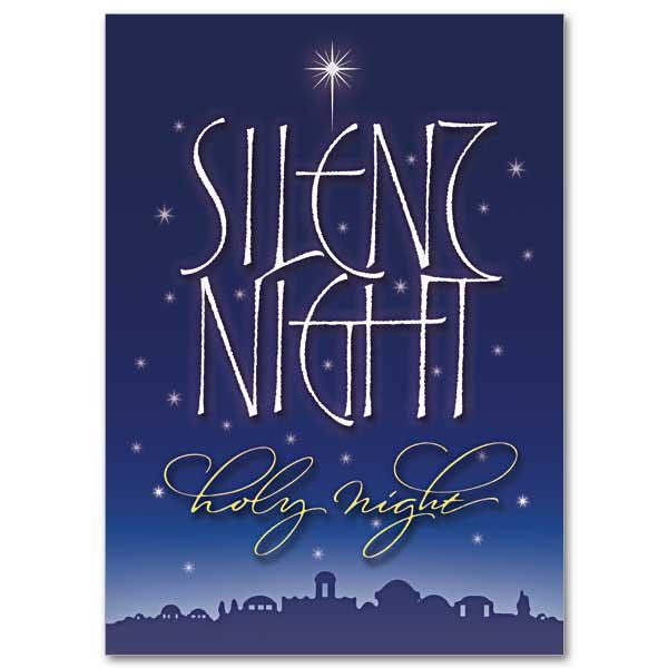 Silent Night Photo Card Custom Single Fold Christmas Card