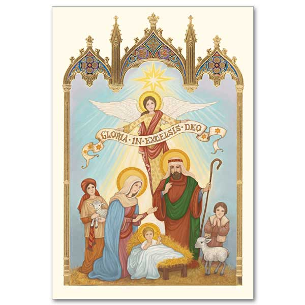 Gothic Nativity Scene Majesty Of Christmas Card