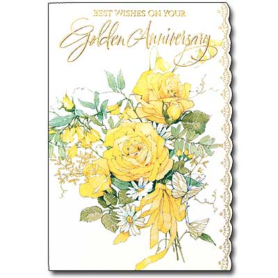 Best Wishes On Your Golden Anniversary 50th Wedding Anniversary Card