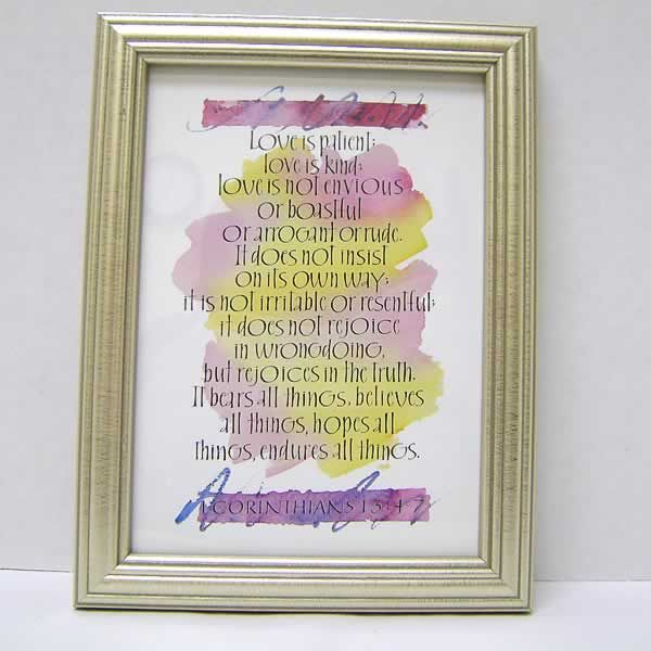 Love Is Patient Love Is Kind 1st Corinthians 13 4 7 Framed Print