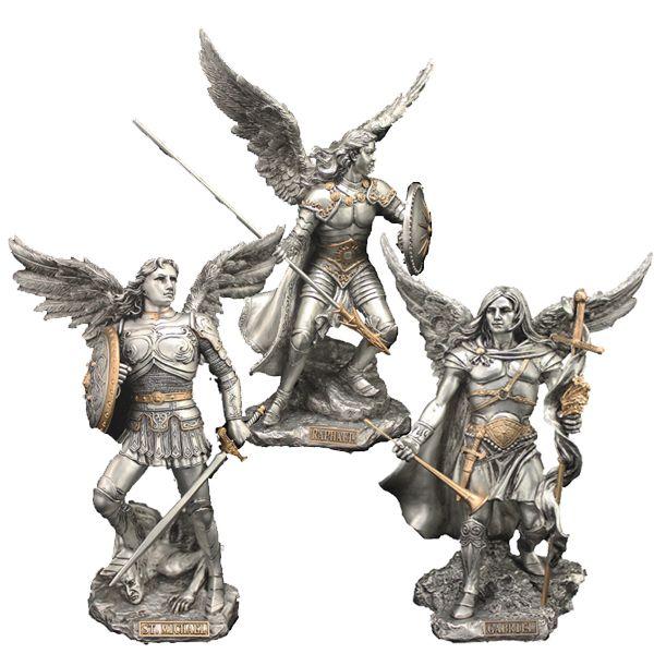 St Raphael Archangel Statue: Set Of 3 Veronese Archangel Statues: