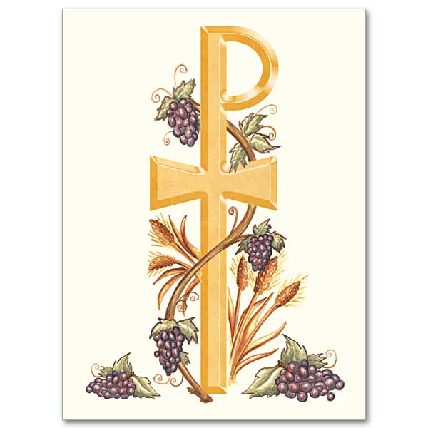 Chi Rho with Grapes and Wheat: Ordination Invitations
