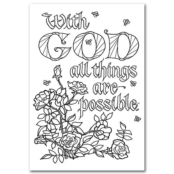 with god all things are possible  oversized coloring post card